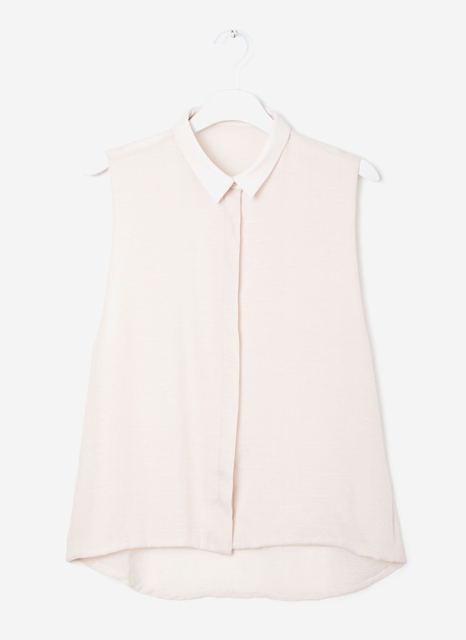 KAAREM - Cream Tea Sleeveless Button-Down Shirt