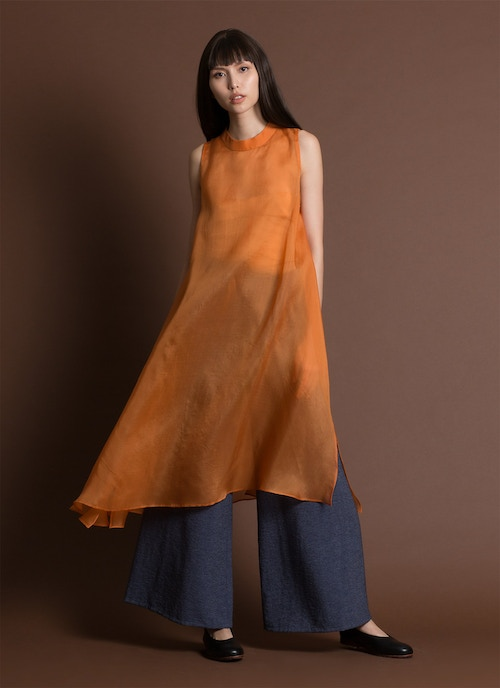 Glass Overlap Side Slit Organza Silk Dress - Orange