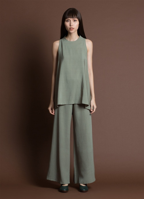 Song Tu Wide Leg Silk Pants - Moss Green