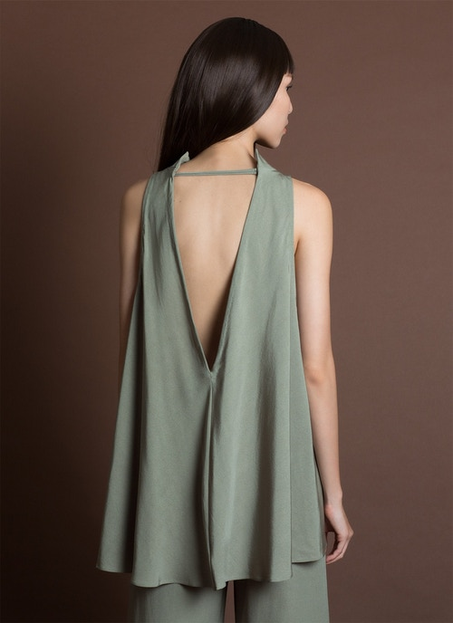 Tao Low V Back Silk Tank Top - Moss Green