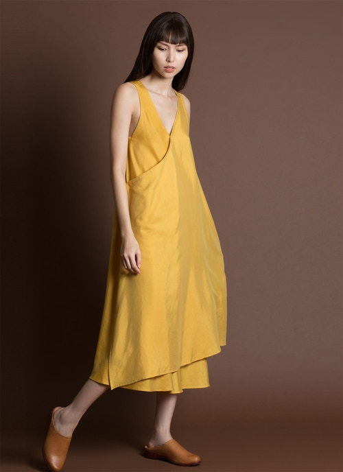 Papen Sleeveless Wrap Layered Midi Dress - Lemon