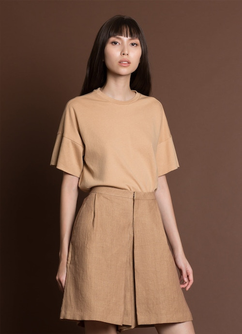 Aglaia Pleated Knee-Length Pocket Shorts - Brown Sand