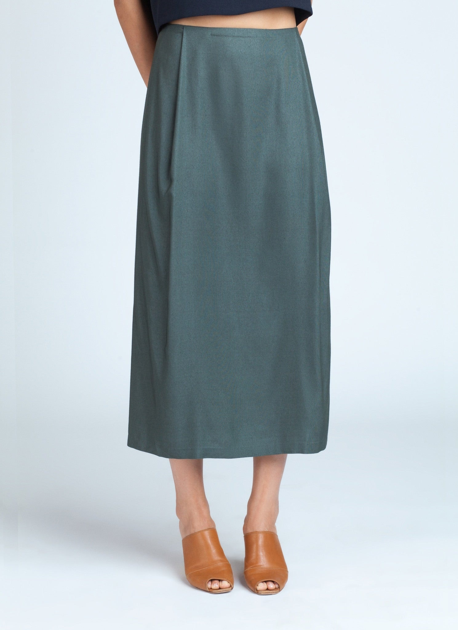 forest green patches midi skirt